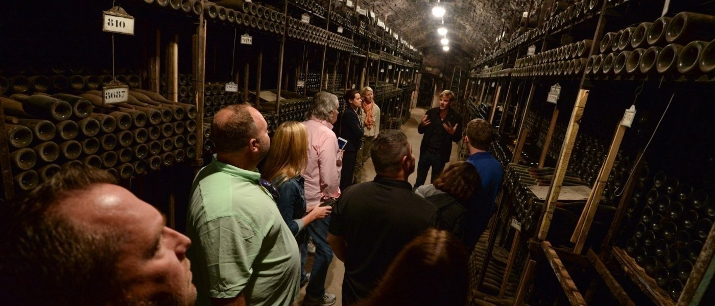 people visiting a wine cellar in burgundy - Wine Paths