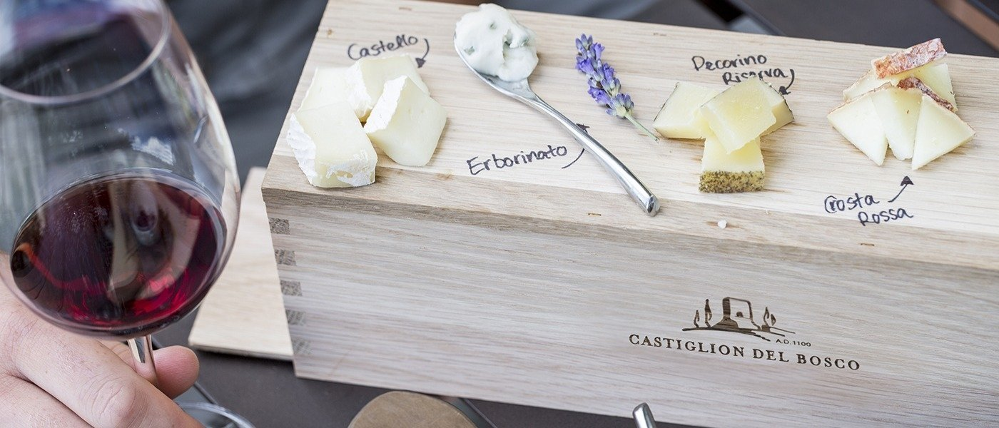 wine and cheese pairing at castiglion del bosco
