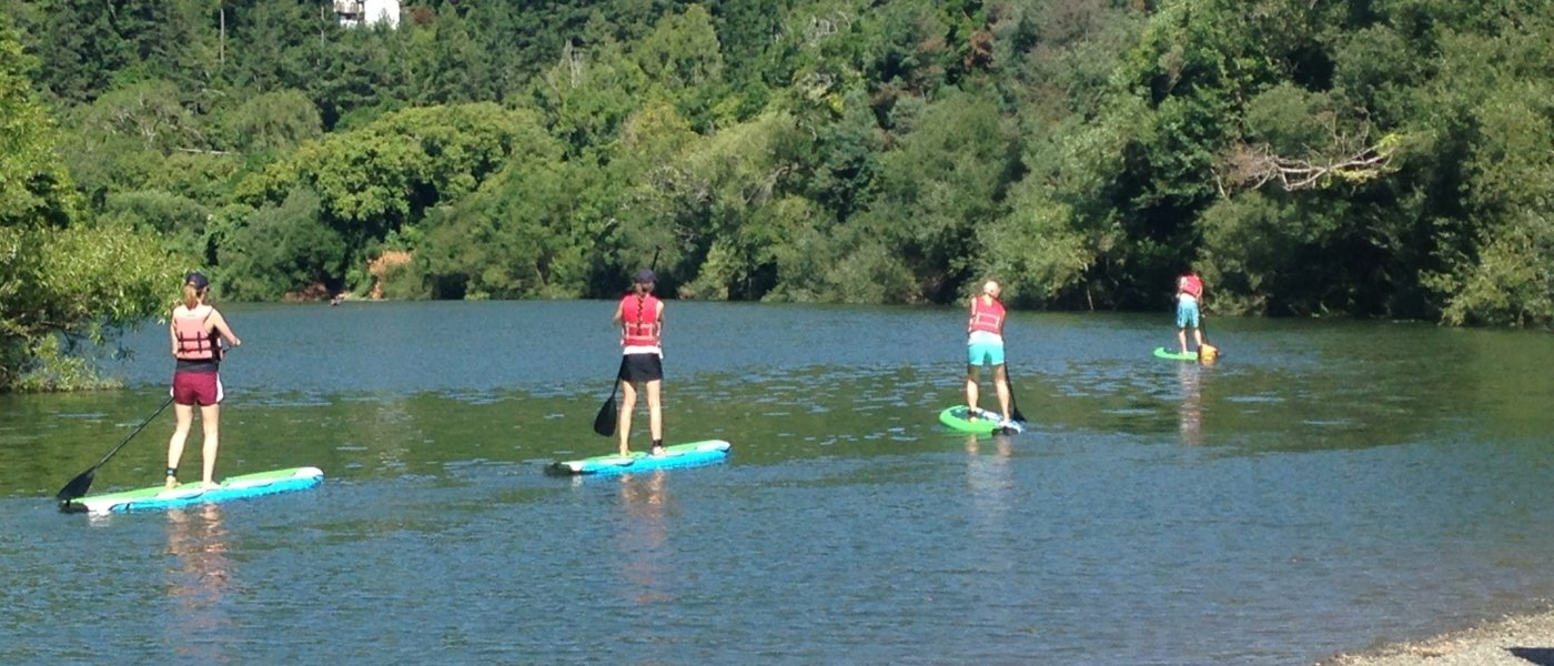 Stand-up paddle boarding on the beautiful Russian River
