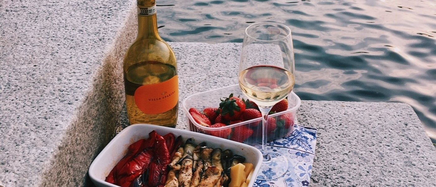 Rosé and food on table - Wine Paths