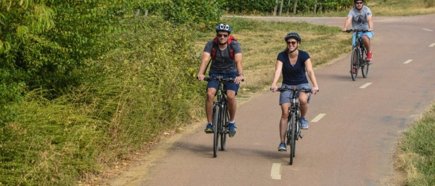 People riding bikes in Burgundy - Wine Paths
