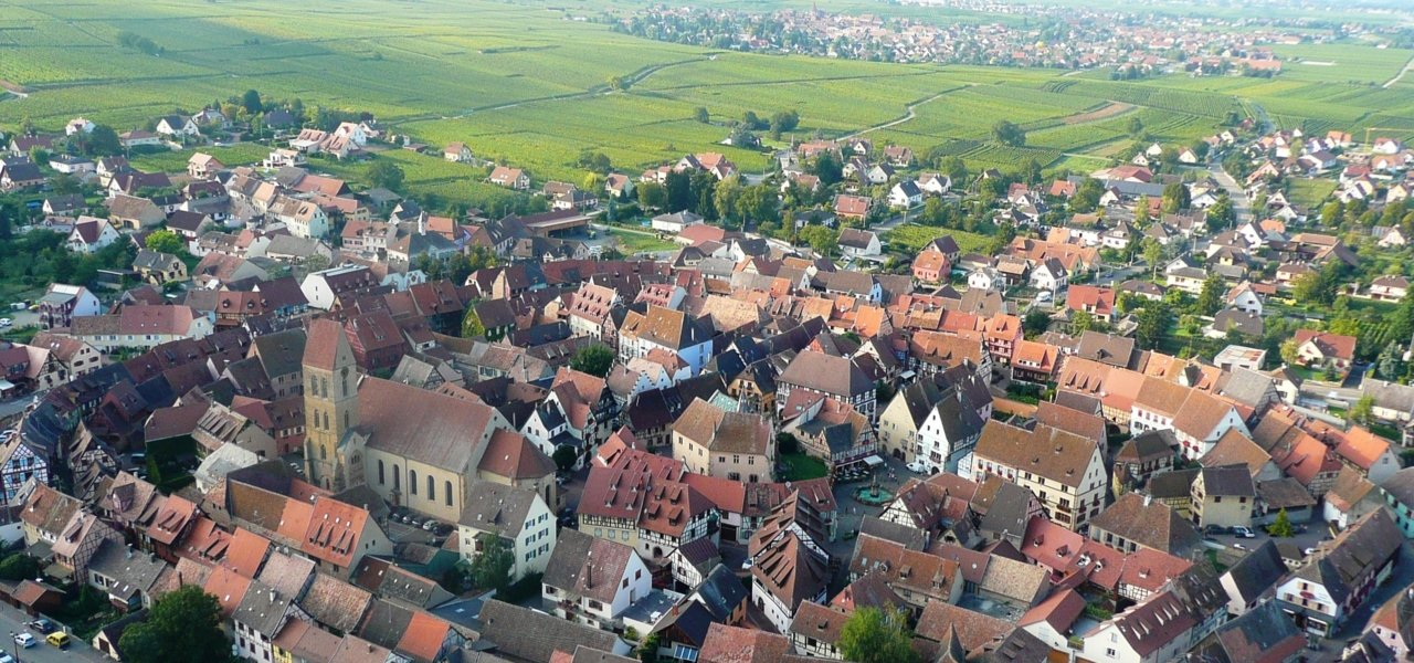 Aerial view of Eguisheim