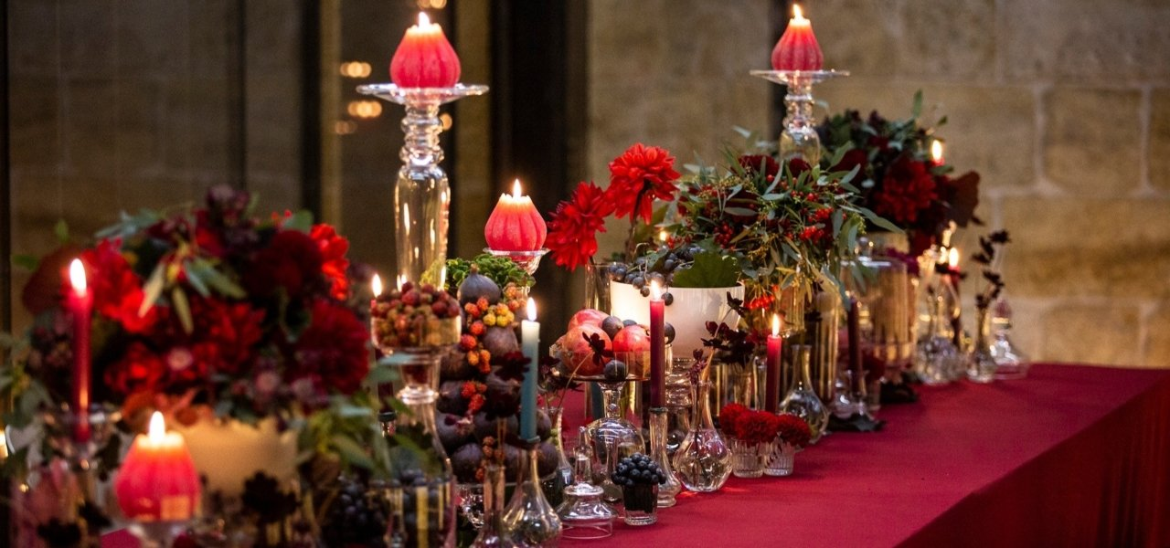 christmas decoration on red table - Wine Paths