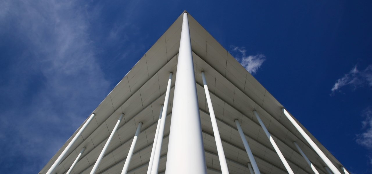 White pillars of modern architecture of a stadium