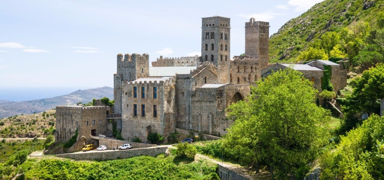 Emporda Region, Sant Pere de Rodes benedictyne monastery, overlooking the Mediterranean and vineyards growth.