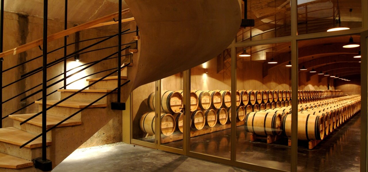 The underground barrel cellar of chateau du Tertre.