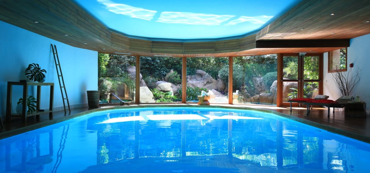 Inside heated swimming pool