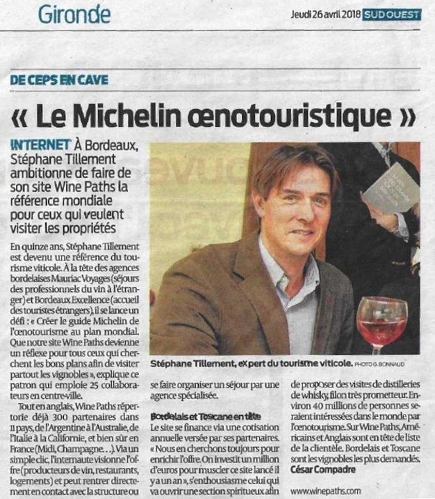 Article Sud Ouest - Wine Paths