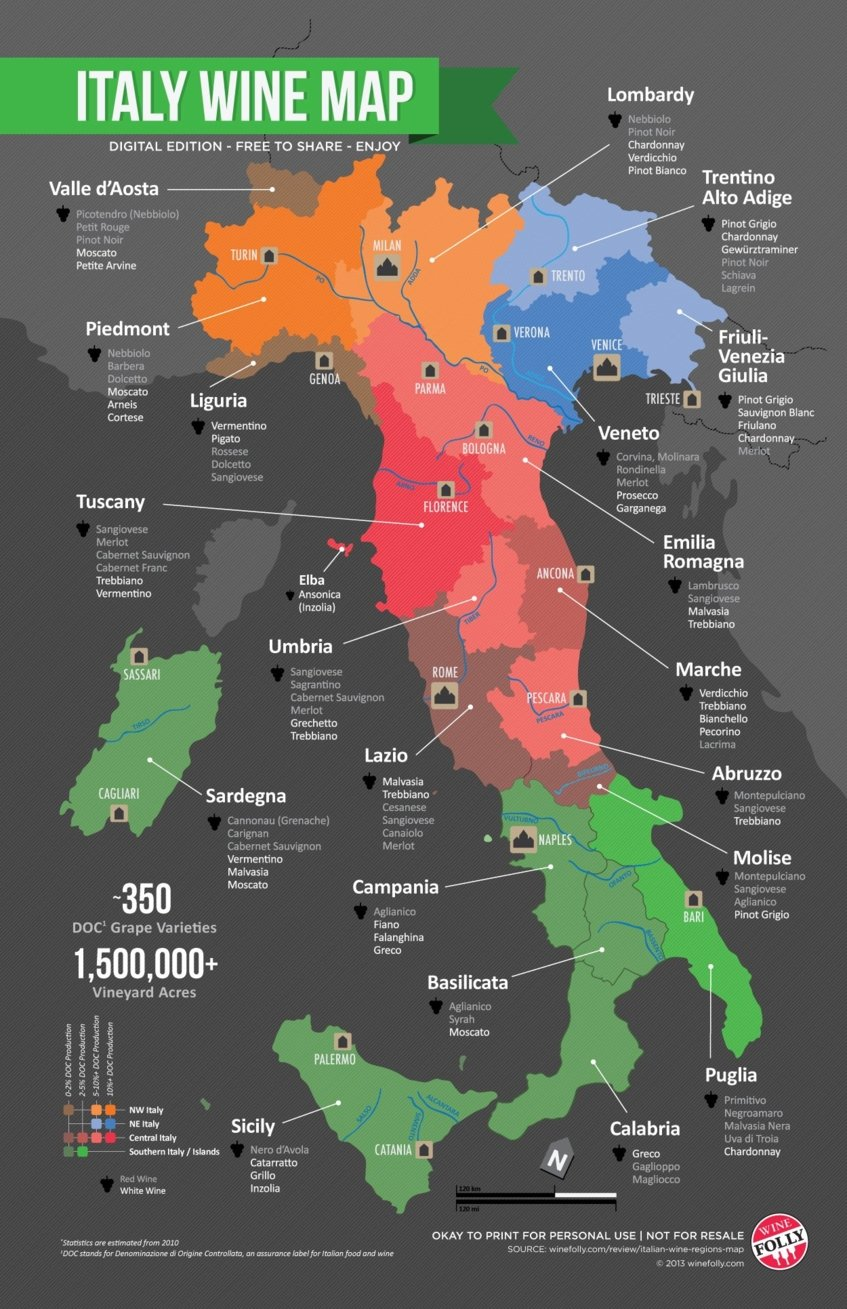 italy wine map - Wine Paths