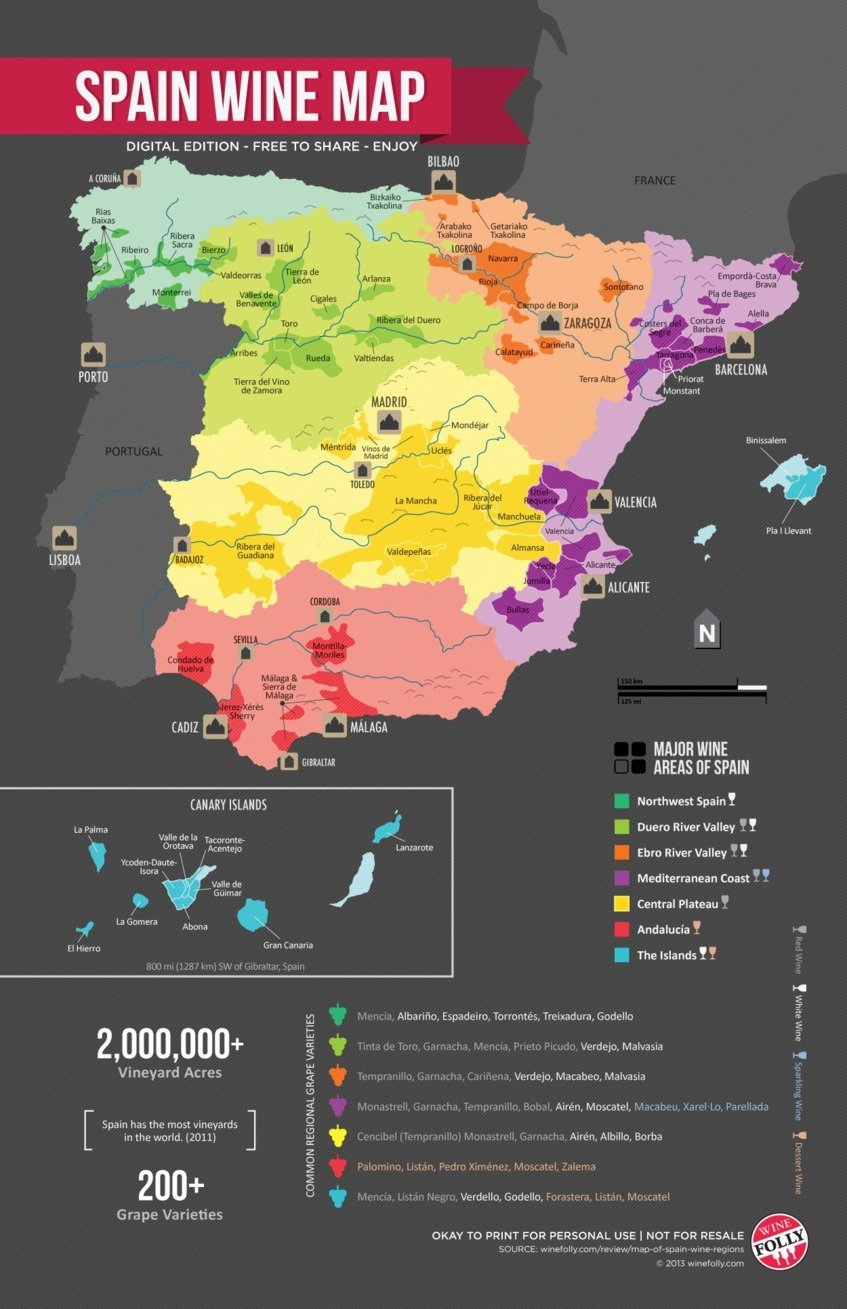 spain wine map - Wine Paths