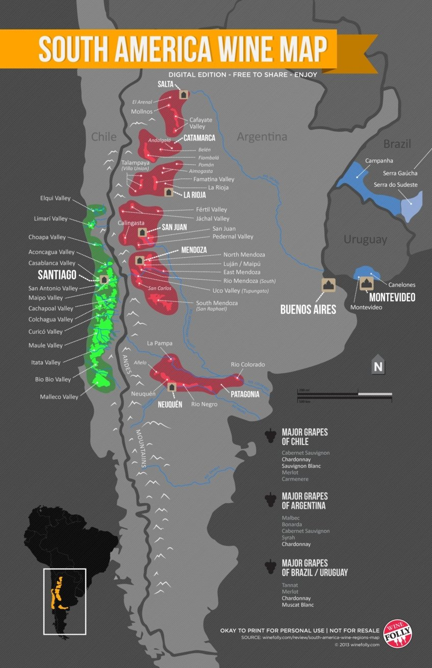 south america wine map - Wine Paths