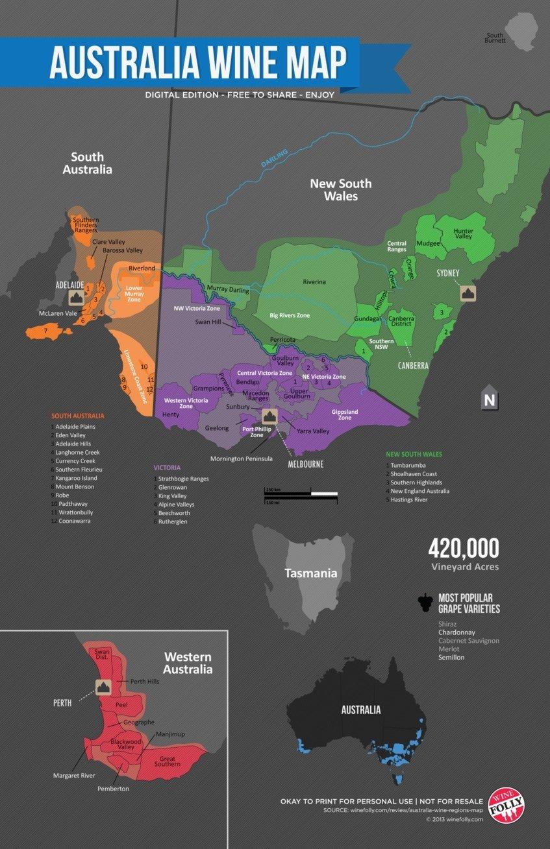 Regions Of Australia Map.Australia Wine Map Wine Paths